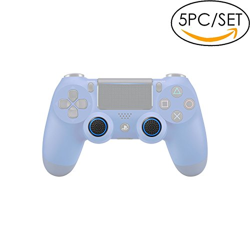 5x Analog Stick Joystick Controller Performance Thumb Grips for PS4, PS3, Xbox ONE, Xbox ONE S, Xbox 360, Wii U (Black/Blue)