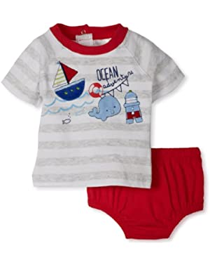 Absorba Baby-Boys Newborn Ocean Stripes Two Piece Short Set