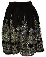Bombay Fashions Women's Short Sequence Knee Length Gypsy Bohemian Skirt