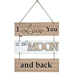 "Danya B. ""I Love to The Moon and Back Sectioned Wooden Wall Plaque"