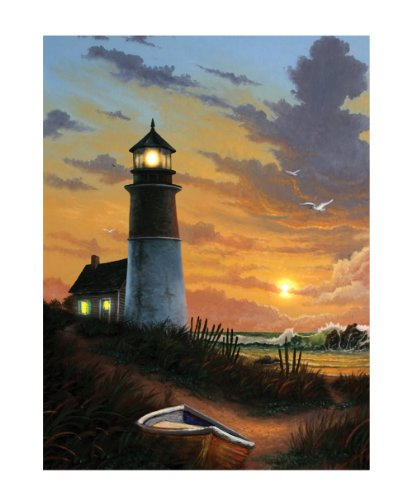 Seascape Lighthouse (Ohio Wholesale Radiance Lighted Canvas Wall Art, Lighthouse Design, 16X12-Inch)