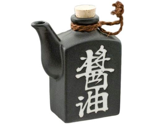 Traditional Japanese Pottery Square Shape Kanji Shoyu Characters Soy Sauce Shoyu Dispenser With Cork Top Stopper 9oz Handcrafted in Japan (Black Matte)
