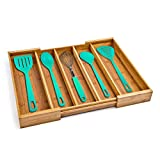 Seville Classics Bamboo Expandable 5 Large Compartment, 2 Adjustable, Cutlery Drawer Tray Organizer