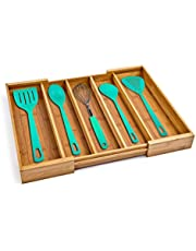 Seville Classics Bamboo Eco-Conscious Organizer Tray Kitchen Home Office Pantry Junk Drawer Utensils, Flatware, Silverware, Cutlery, Pens, Expandable 5 Compartment, Bamboo
