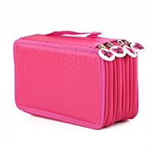 4 Layers Zipper Pencil Pen Cases Bags Pouch Closure Bag 72 Inserting Pencil Holder Storage Rose Red