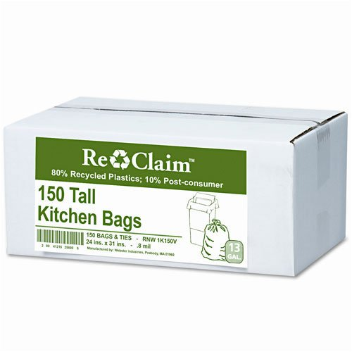 (Webster : Re-Claim Tall Kitchen Bags, 13 gallon, 0.8mil, 24 x 31, White, 150 Bags per Box -:- Sold as 2 Packs of - 150 - / - Total of)