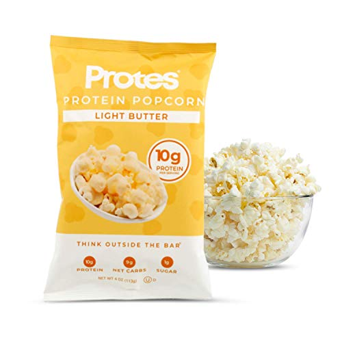 Protes Protein Popcorn Light Butter 4oz - 6 Pack - 10g Protein, Gluten Free, Low Sugar, Air Popped, High Protein Snacks