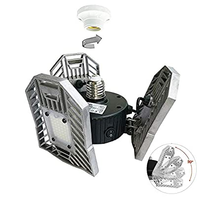 E26/E27 Motion-Activated Ceiling Light 6000LM,Garage Light 60W,High Power LED Light Bulb,LED Ceiling Light for Garage/Attic/Basement/Home/Stage Lighting