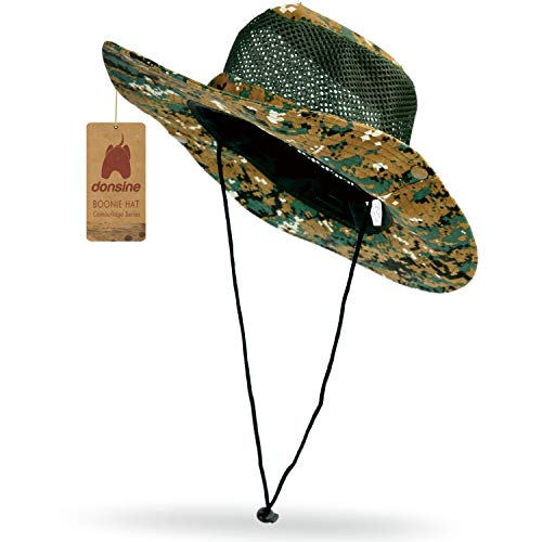 Donsine Sun Hat for Men/Women, Outdoor Sun Protection Wide Brim Fishing Hat Waterproof Breathable Packable Boonie Hat - Hat Jungle Boonie
