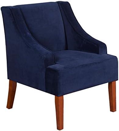 picture of HomePop Velvet Swoop Arm Accent Chair, Navy