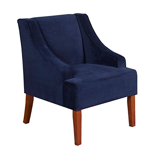 HomePop K6499-B215 Velvet Swoop Arm Accent Chair, Medium, Navy
