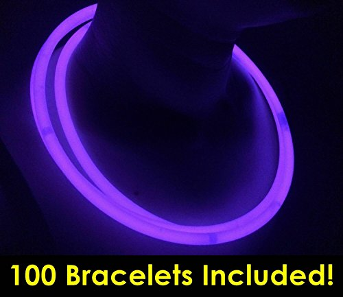 "Glow Sticks Bulk Wholesale Necklaces, 100 22"" Purple Glow Stick Necklaces +100 FREE Assorted Glow Bracelets! Bright Color, Glow 8-12 Hrs, Connector Pre-attached, Sturdy Packaging, GlowWithUs Brand"
