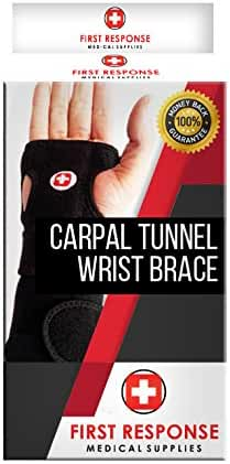 First Response Medical Supplies Carpal Tunnel Wrist Brace – Flexible & Comfortable Wristband Design, Breathable & Adjustable Neoprene Compression Support, Pain Relief From CTS, Arthritis, Injuries