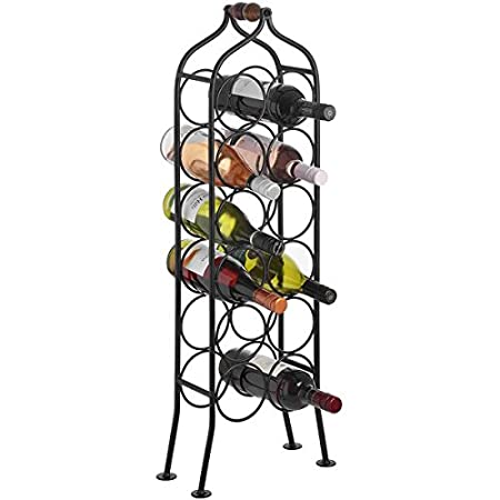 Free Standing Sturdy Iron Metal Wine Rack Bottle Holder In Black