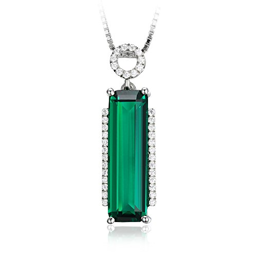- Jewelrypalace Women's 3ct Simulated Emerald 925 Sterling Silver Pendant Necklace 18 Inches