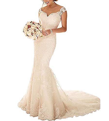 Lace Wedding Dress - Holygift Women's Mermaid Lace Wedding Dresses for Bride 2018 Bridal Gowns HY151 (US14, Ivory)