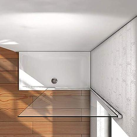 Mampara de ducha fija de 70x200cm,Vidrio templado de 8mm tratamiento antical//Easyclean Mampara walk-in