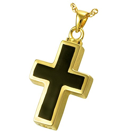 (Cremation Memorial Jewelry: 14K Solid Yellow Gold Black Inlay Cross + Text Engraving)