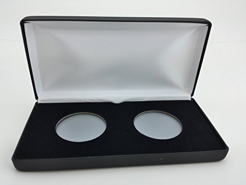 ((1) Air-Tite Black Leatherette Coin Presentation Case (Holds 2) for Air-Tite Brand Coin Holder Capsules (Model