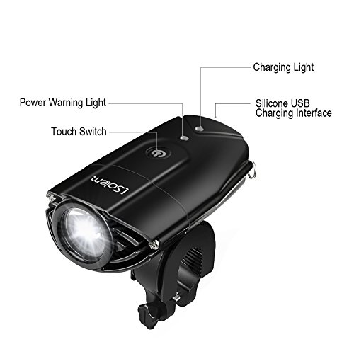 iSolem Rechargeable LED Bike Light Set, 3-Mode Bicycle Headlight and Taillight Combinations, IP65 Waterproof Front and Rear Cycling safety Flashlight - Easy to Install for Kids and Adults by iSolem (Image #3)
