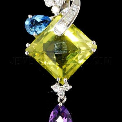 Quartz Citron & Diamant Or Blanc 18carats Coussin Pendentif