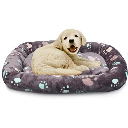 Allisandro Dog Bed | Anti-Slip Soft Pet Crate Kennel Pad - Washable Dog Mattress Pet Bed for Dogs & Cats, Grey L:33.4x22.8x4.7 by Allisandro (Image #1)
