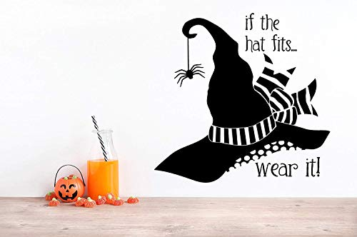 24x24 If The Hat Fits Wear It Humor Halloween Witch Spider Wall Decal Sticker Party Decoration Sign Fall Art Funny Saying October]()