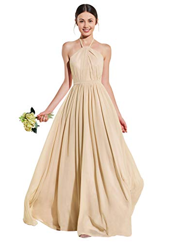 Women's Halter Ruffled Open Back Evening Formal Dress Long Chiffon Bridesmaid Dress Champagne Size 12