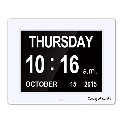 8inch Day Clock - The Original Memory Loss Digital Calendar Day Clock with Extra Large Non-Abbreviated Day & Month. Perfect for Seniors