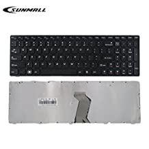SUNMAL Keyboard Replacement with FRAME for Lenovo Ideapad G580 G580A G585 G585A V580 V585 Z580 Z580A Z585 Z585A N580 N581 N585 N586 Series Laptop Black US Layout (6 Months Warranty)