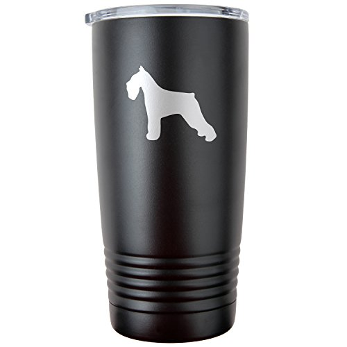 Modern Goods Shop Schnauzer 20Oz Black Double-Walled Vacuum Insulated Travel Tumbler ()