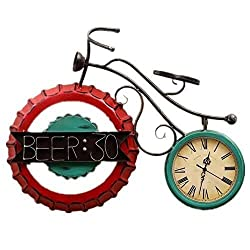 MGE UPS Systems Clock Wall Clock,Vintage Silent Wall Clock Roman Numeral Quartz Movement Stopper Bottle Bicycle American Style Metal Metal Decorative Clock for Living Room Bedroom