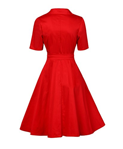 Dress Rétro Robe taille serrée Audrey Hepburn Vintage années 50 's Style-Rouge