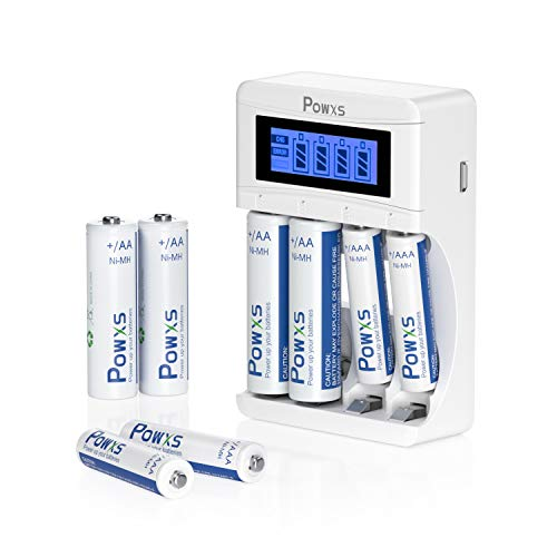 POWXS Battery Charger Combo Including AA Batteries 4 Counts and AAA Batteries 4 Counts with Smart 4-Bay LCD Battery Charger