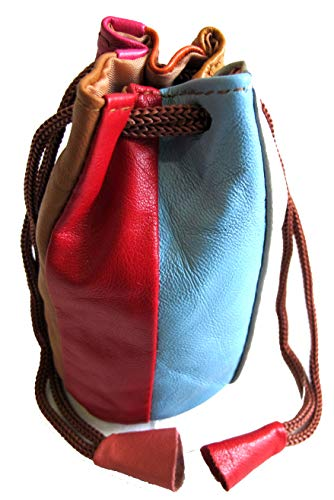 2pc Lot Soft Lambskin Leather Coin Bags Drawstring Closure w/MULTIPLE Block Color