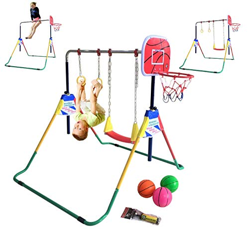 Kids Jungle Gymnastics Expandable Junior 4 in 1 Training Monkey Horizontal Bars Climbing Tower Child playset Training Pull Up Gym with Swing, Trapeze Ring and Basketball Stand with 3 Balls Set.