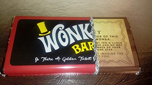 WILLY WONKA with GOLD TICKET ON WRAPPER and INSIDE (Willy Wonka Chocolate Candy Bar)