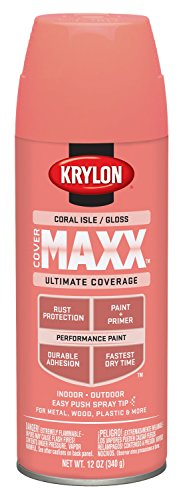 Coral Spray - Krylon K09115000 COVERMAXX Spray Paint, Gloss Coral Isle, 12 Ounce