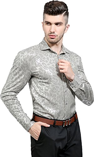 Whatlees Mens Casual Long Sleeve Slim Fit Button Down Dress Shirt Leopard Print Silk Luxury Gold Party Night Club Tops B616-Grey-S