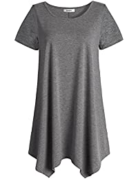 Women's Short Sleeve Tunic Shirt Loose Fit Leggings Top