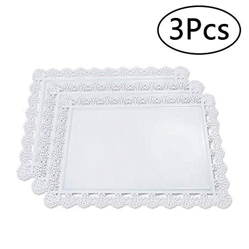 Rectangle Cupcake Stand Set of 3 Iron Cake Holder Dessert Candy Display for Wedding Birthday Party Baby Shower Bar White