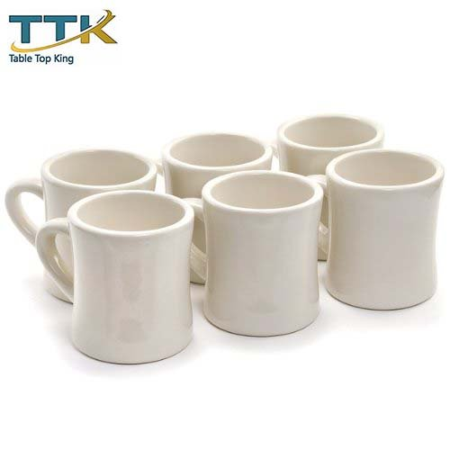 Table Top King Diner Coffee white Mugs - Set Of 6 by TableTop King