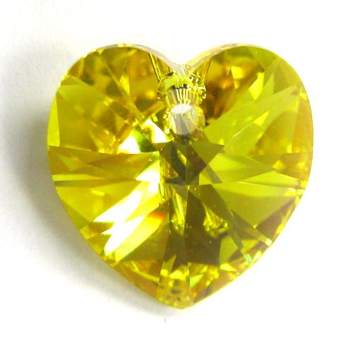 1 pc Swarovski Crystal 6228 Xilion Heart Charm Pendant Light Topaz AB 18mm / Findings / Crystallized Element (1 Charm 18mm)