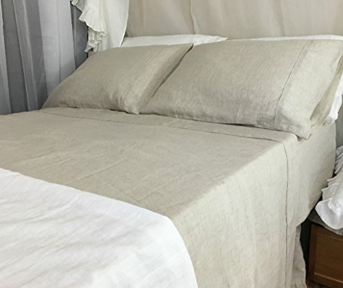 Natural Linen Bed Sheet, Natural Linen Bed Sheets, Natural Linen Bedding, Top Sheet, Fitted Sheet, Bed Sheets Set, Queen Bed Sheets, King Bed Sheets, California King Bedding, Twin Bed Sheets by SuperiorCustomLinens