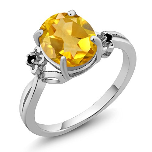 2.03 Ct Oval Yellow Citrine Black Diamond 14K White Gold Ring (Ring Size 6)