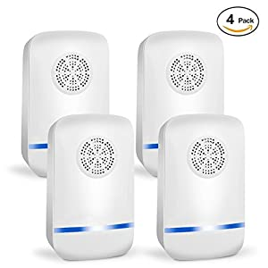 HZTech Ultrasonic Pest Repellent - Electronic Pest Repeller Control Plug In Pest Control Home Repellent Anti Mice, Ant, Roach, Mosquito, Outdoor/Indoor(4Pack)