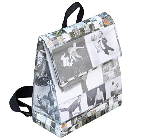 (Backpack made using vintage black & white images - FREE SHIPPING upcycled recycled reclaimed handmade vegan eco friendly design style upcycling recycling back pack handbag backpacks)