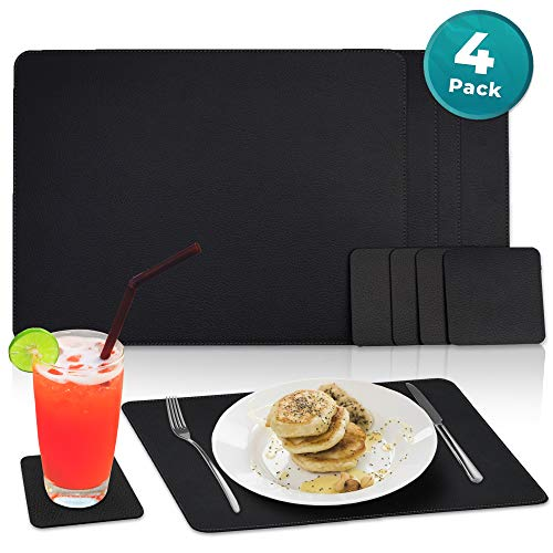 (Nikalaz Set of Black Placemats and Coasters, 4 Table Mats and 4 Coasters, Italian Recycled Leather, Place Mats 15.7'' x 11.8'' and Coasters 3.9'' x 3.9'', Dining table set)