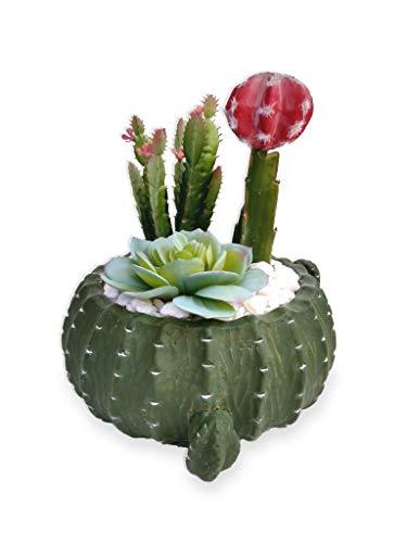 Suculenta Arranjo Flor Artificial Vaso Cacto Verde Cerâmica