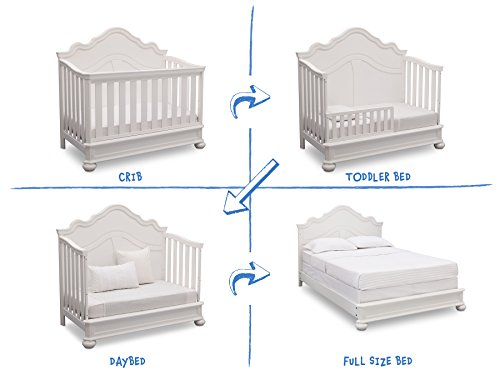 Simmons Kids Peyton 6-Piece Nursery Furniture Set (Convertible Crib, Dresser, Chest, Changing Top, Toddler Guardrail, Full Size Conversion), Bianca White by Delta Children (Image #4)